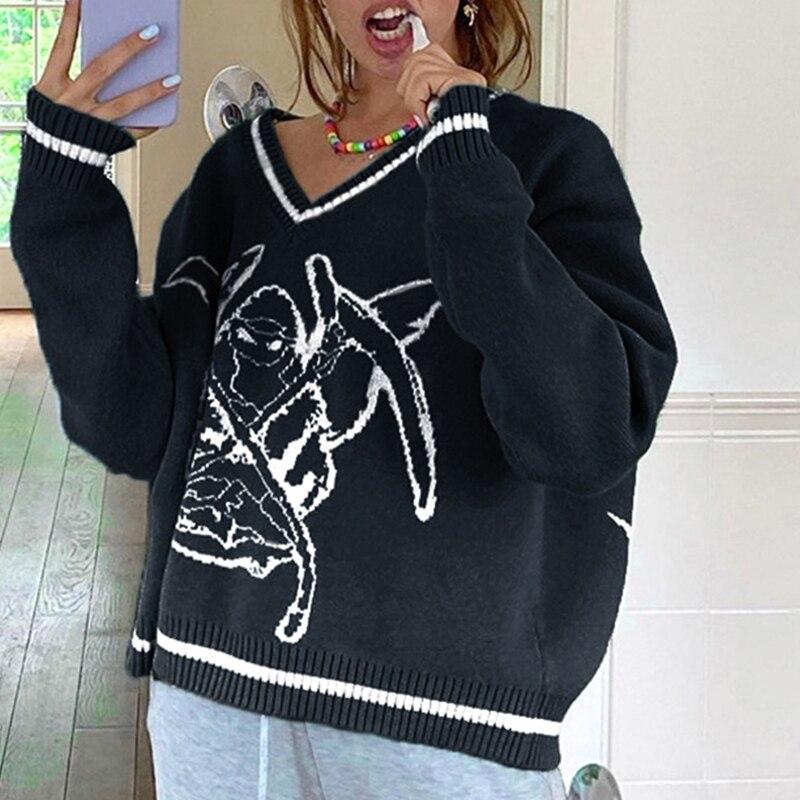 Women Long Sleeve V-Neck Knit Sweater Harajuku Demon Print Oversized Jumper Top enlarge