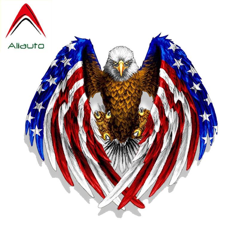 Aliauto calcomanía del coche de personalidad usa Bald Eagle USA bandera americana decoración PVC etiqueta reflectante para motocicleta Honda, 16cm * 15cm