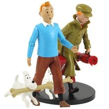 19cm Las aventuras de tintina PVC figura de acción Tintin Snowy perro Loto Azul dibujos animados modelo coleccionable juguetes regalos