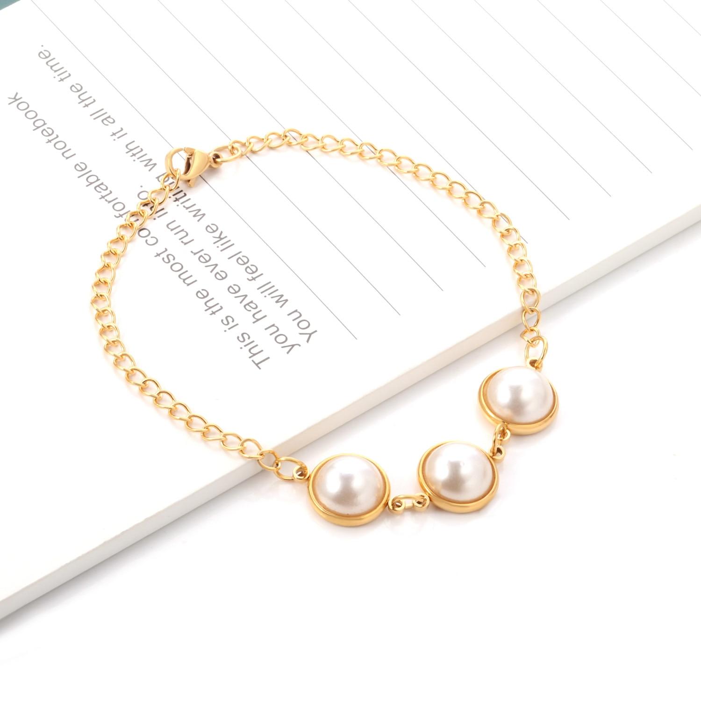 Luxukisskids elegante moda encantos pulseira de aço inoxidável & pulseira ouro vácuo rosa cor brilhante falso pérola pulseiras pulseras