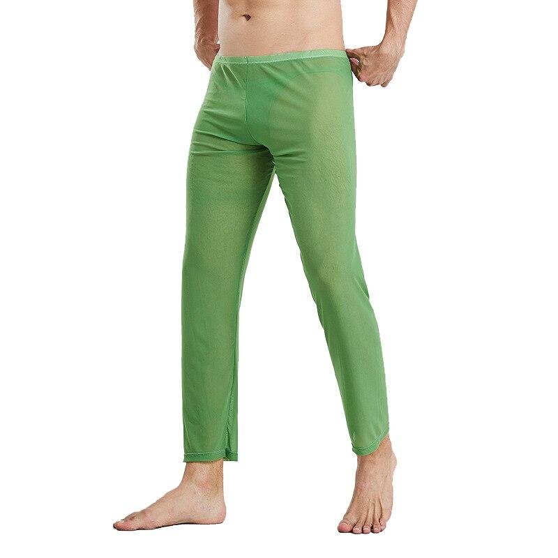 Pijama de rejilla transparente Sexy para hombre ropa de dormir de seda pantalones sueltos para hombre