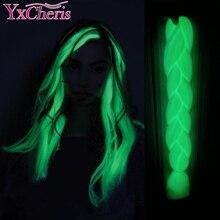 YxCheris sentetik örgü 24 inç 100g aydınlık Jumbo örgüler parlayan saç karanlıkta parlayan örgü saç Kanekalon