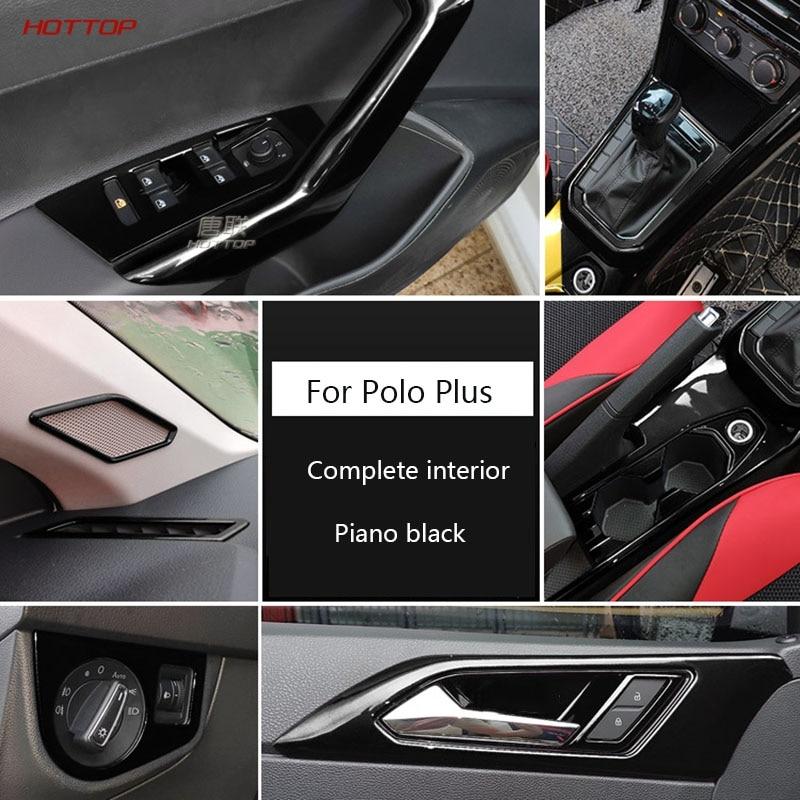 Negro Piano conjunto completo de Interior de cambio de salida de aire de la manija de la puerta Lámpara de lectura embellecedor para Reposabrazos de para VW Polo de talla grande 2019