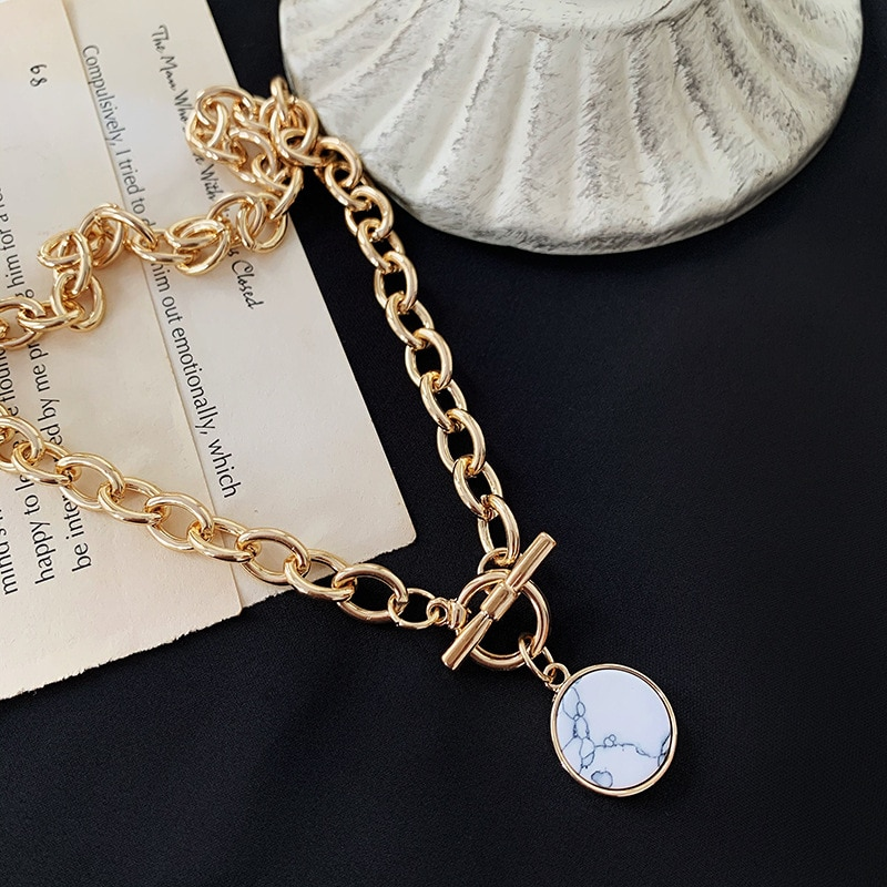 Модное ретро ожерелье, подвеска из мраморного камня, широкие цепочки для ключиц для женщин, вечерние подарки