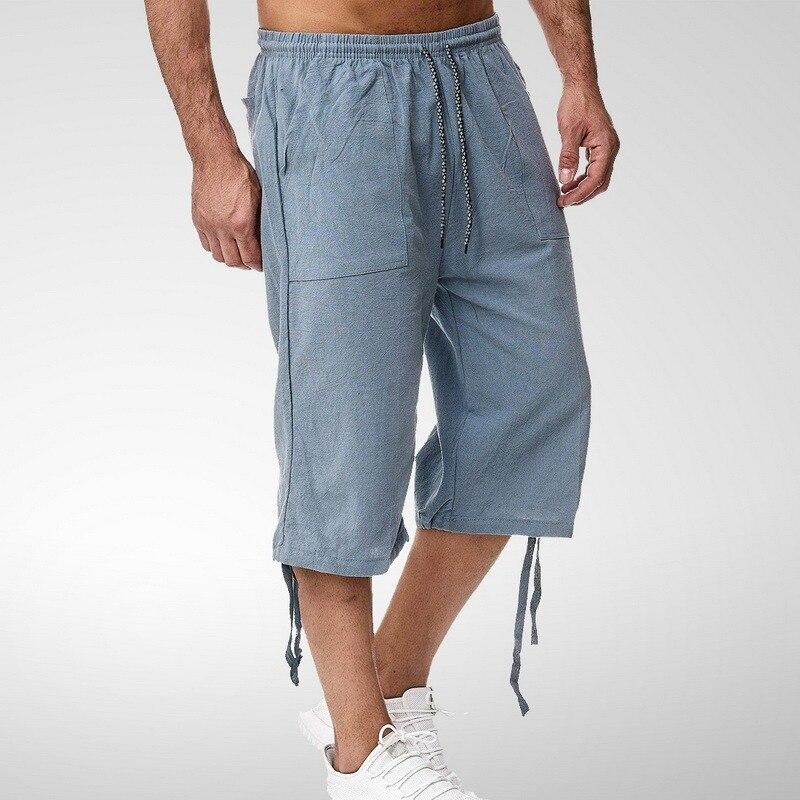 Шорты мужские с завышенной талией, хлопковые длинные льняные укороченные повседневные штаны до колен, большие размеры, на лето