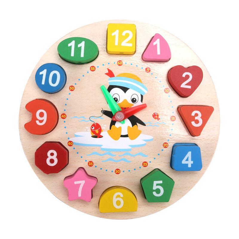 Rompecabezas de juguete a juego, reloj de madera con bloques divertidos, Puzzle de juguete, rompecabezas de bloques de reloj Digital, juguete educativo para edades tempranas 1 Juego