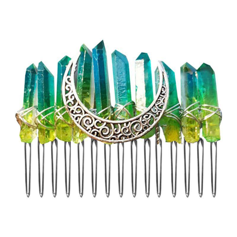 Arco Iris degradado imitación cristal en bruto peine de pelo Ángel Aura horquilla para boda 449F