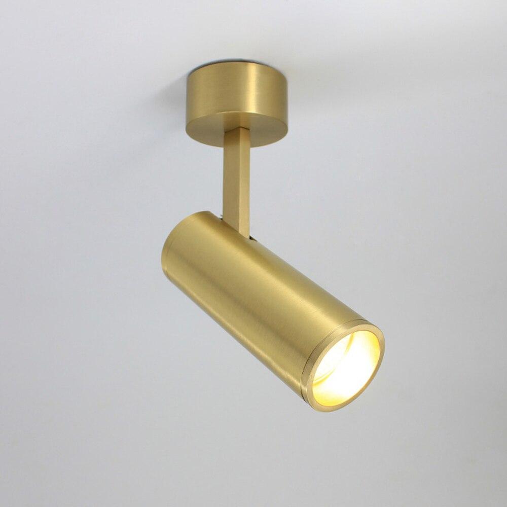 أيسيلان الصلبة النحاس سطح شنت الأضواء الشمال تصميم الذهبي LED قابل للتعديل زاوية السقف مصابيح كشاف صغيرة الحجم التيار المتناوب 90-260 فولت