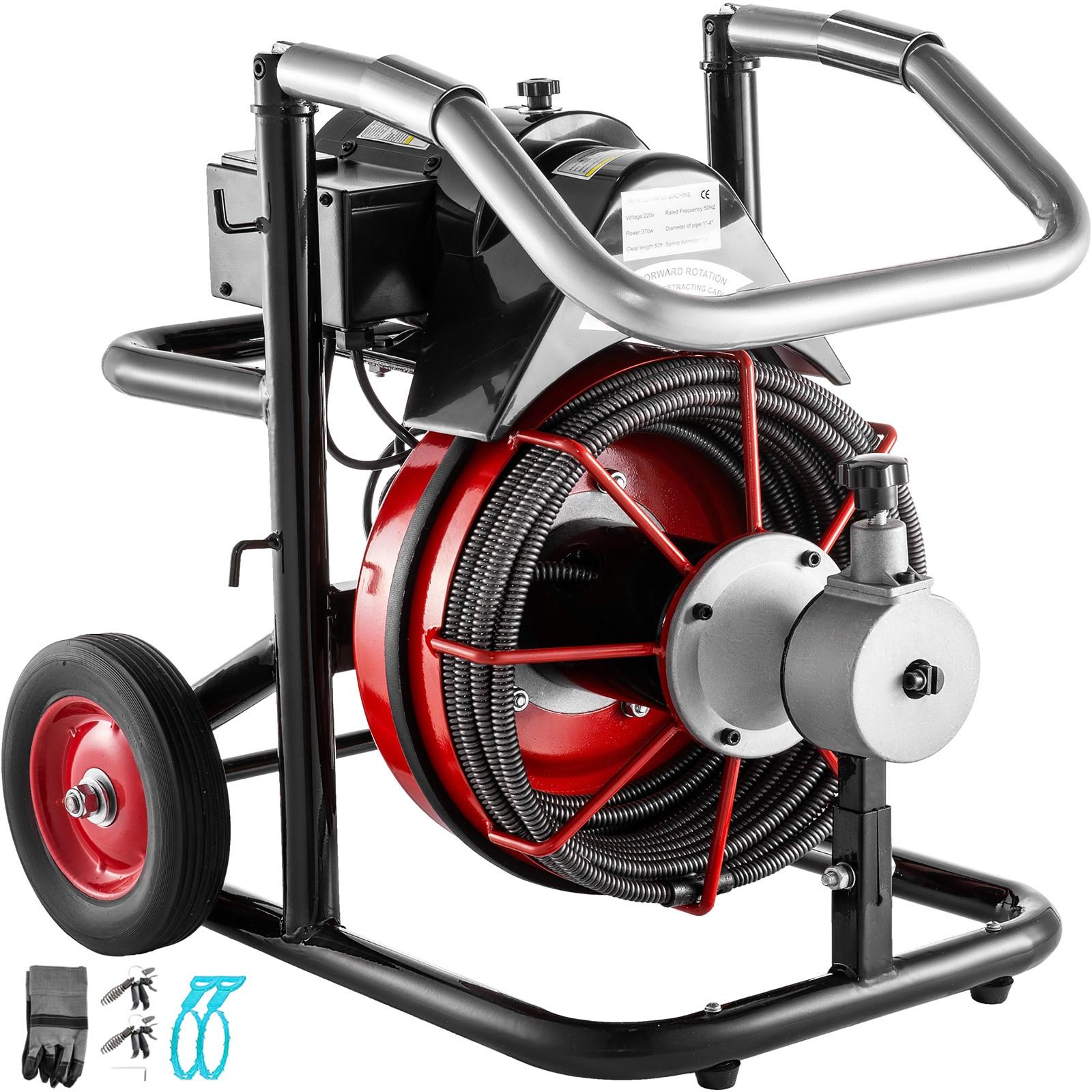 VEVOR استنزاف تنظيف آلة 100Ft x 3/8 بوصة صالح 25 إلى 100 مللي متر أنابيب 370W المجاري الأفعى الكهربائية استنزاف اوجير نظافة
