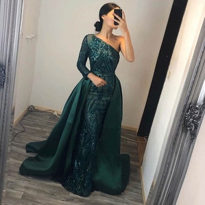 Trendy Evening Dress 2021 Muslim Long Sleeves Mermaid with Detachable Train Sequin One Shoulder Prom Party Gowns вечерние платья