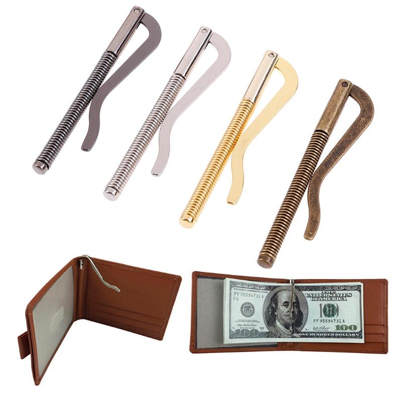 1 قطعة معدنية جديدة Bifold المال كليب بار محفظة استبدال أجزاء مشبك الربيع حامل النقدية