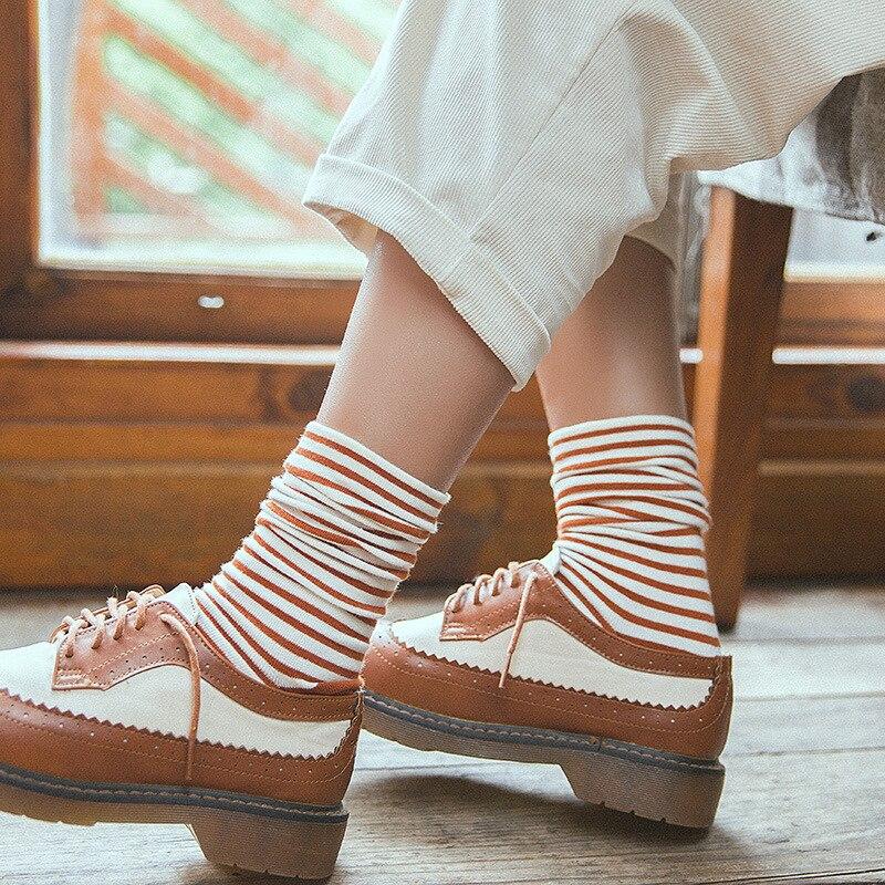 Носки в Корейском стиле из чистого хлопка с горизонтальными полосками, Носки ярких цветов, не ощущаются в обтяжках, с широкими носками