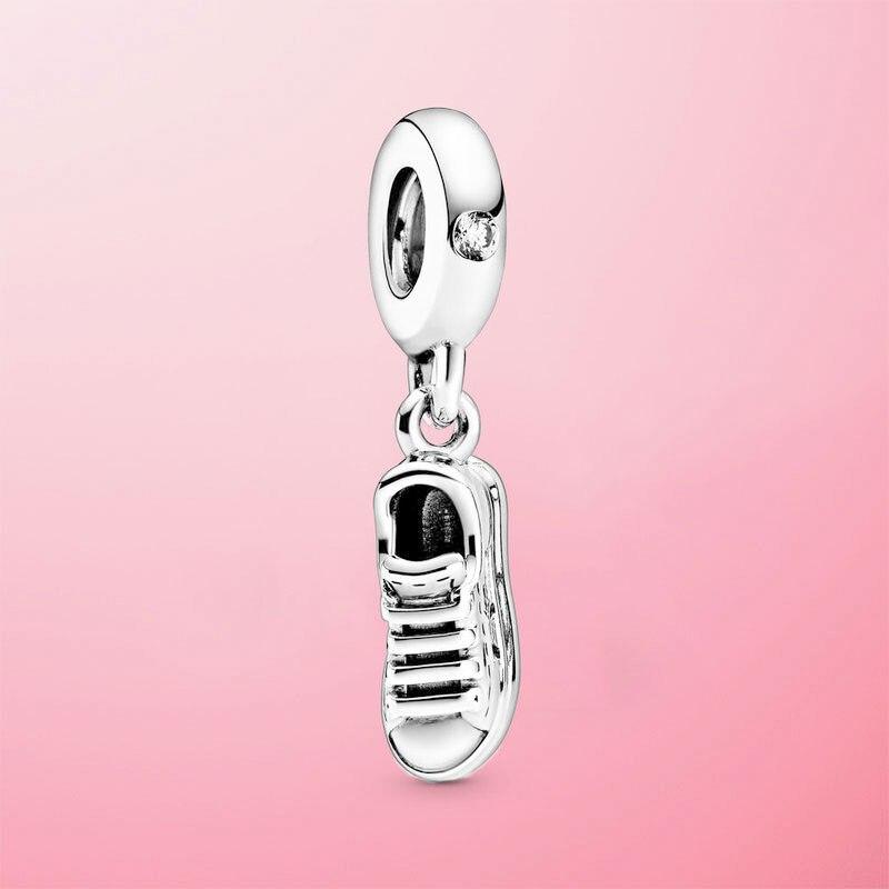 Moda 925 prata esterlina sapatilha sapato balançar charme contas caber pamura original pulseira colar de jóias de prata presente