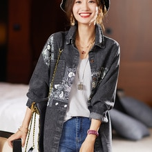 2021 Autumn Loose Stitching Printing Denim Shirt Mid-Length Coat For Lady Jean Jacket Women Denim Ja