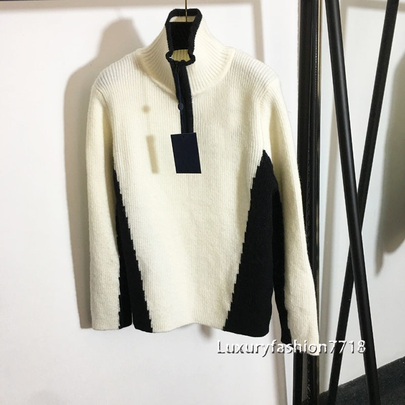 New style fall fashion sweater women clothes pullover jumpers letter logo jacquard high end brand mock neck long sleeve sweaters enlarge