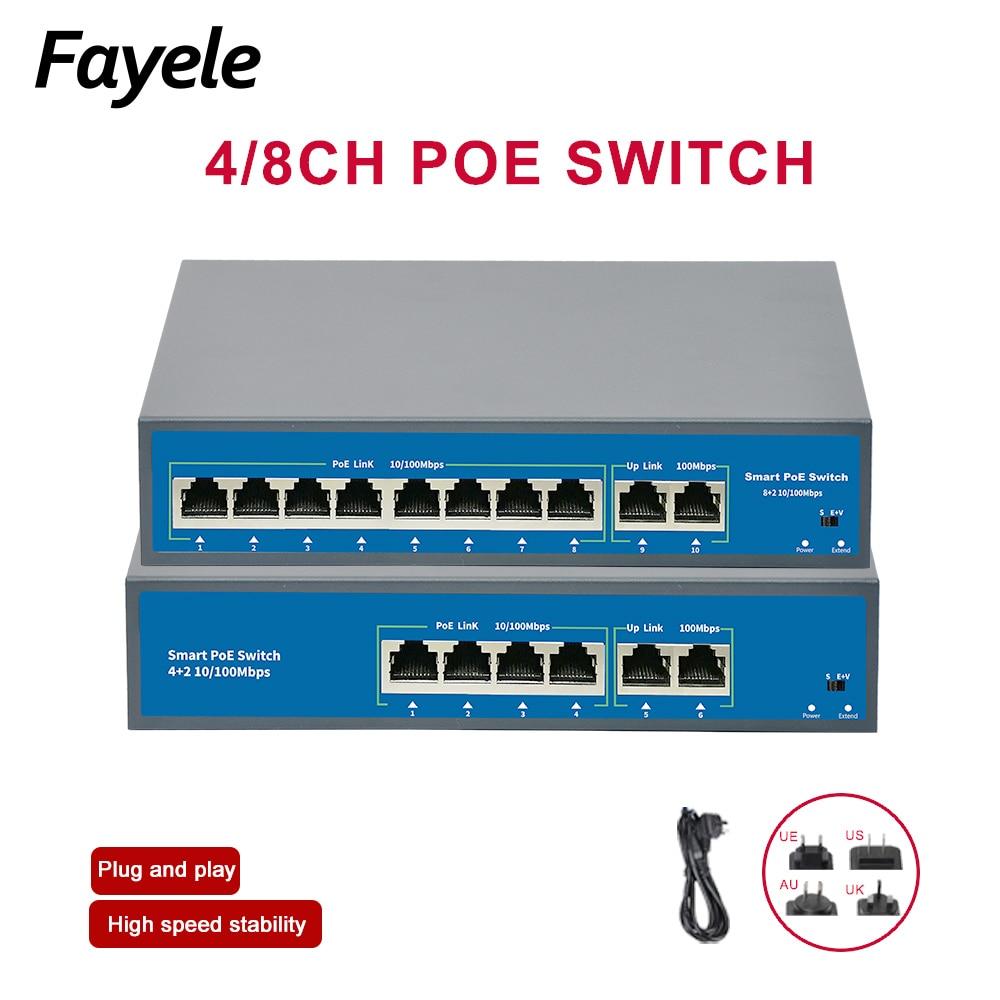 Padrão 4ch 8ch 48 v poe switch 120 w potência sobre ethernet 10/100 mbps 250 m 15.4 w/30 w ieee 802.3 af/at para ip câmera sem fio ap