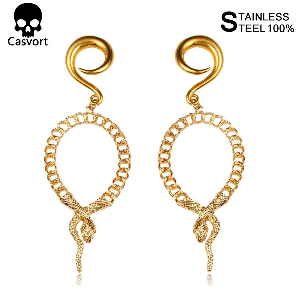 Casvort 2 uds Disco de Oro serpiente oreja percha de peso remolino pendientes cónicos en espiral ensanchador calibre Piercing joyería del cuerpo expansor