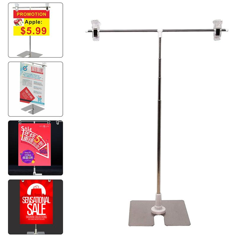 Stainless Steel Display Stand T-shaped Height Adjustable Poster Stand (Silver)