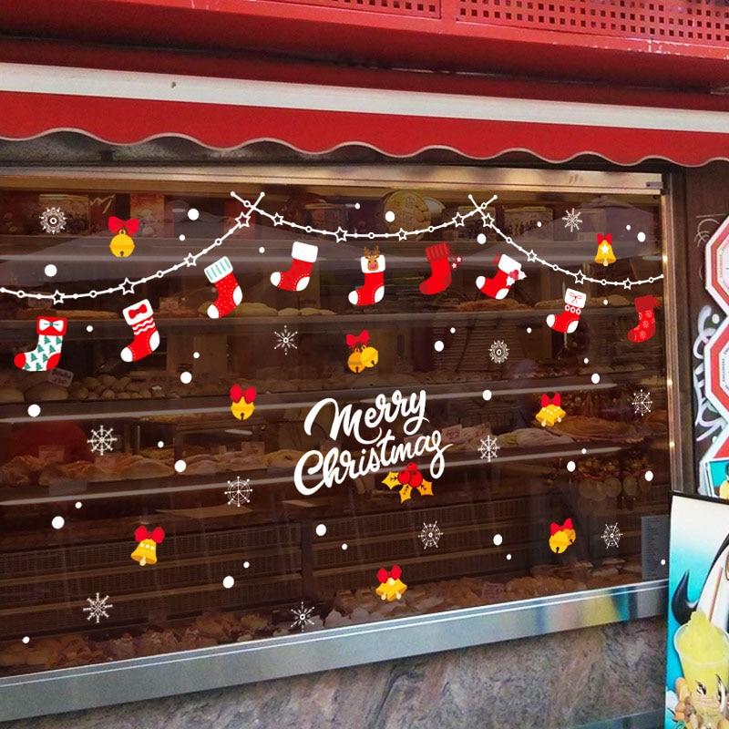 DIY pegatinas de Navidad calcetines de Navidad tienda de stickers de pared ventana ventanas para puertas de cristal Fondo decoración pegatinas extraíbles