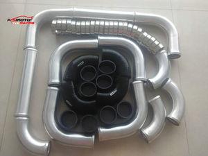 "3"" 76mm Aluminum  Intercooler Turbo Piping & hose & T-Clamp kits 12pcs New"