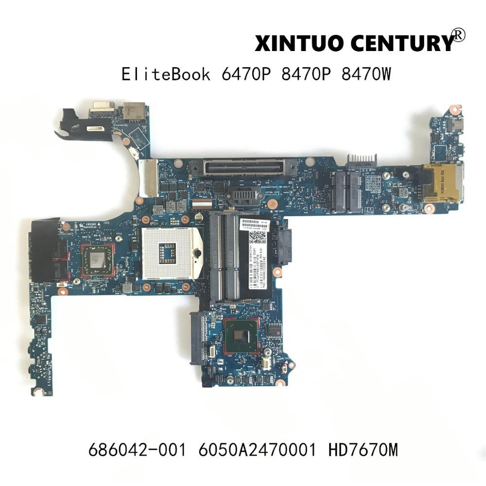 لوحة أم للكمبيوتر المحمول 686042-001 686042-601 متوافقة مع HP EliteBook 6470P 8470P 8470W لوحة أم للكمبيوتر المحمول 6050A2470001 لوحة أم SLJ8A 216-0833018 100% تم اختبارها