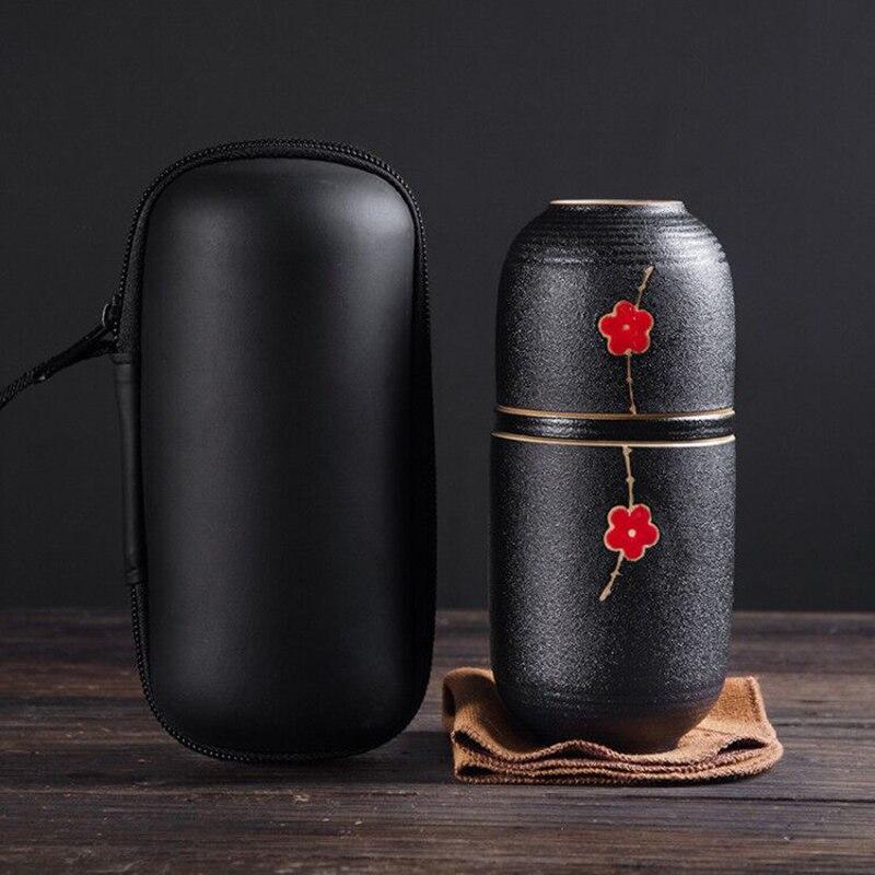Портативный керамический чайный горшок Gaiwan, чайные чашки ручной работы, дорожная и офисная концентрическая чашка, набор из китайской глины, бутылка для воды, дорожный пакет
