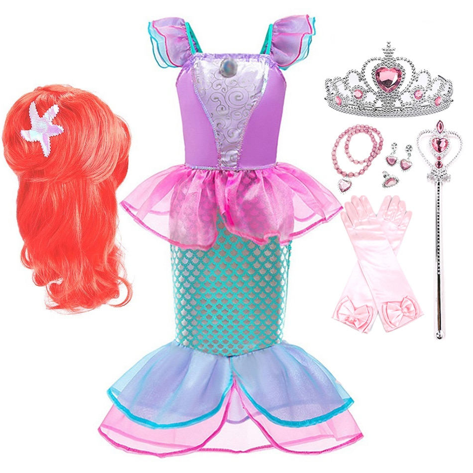 Little Mermaid Cosplay Costume Girls Ariel Dress Up with Wig Summer Princess Costume Kids Halloween Carnival Party Fancy Clothes