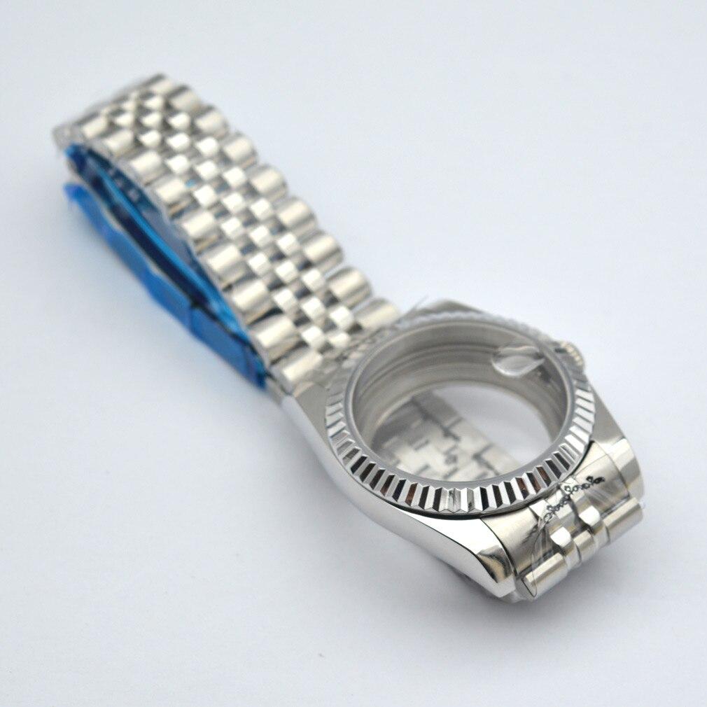 ساعة فضية Case36mm-40mm 316SS حزام صالح Miyota8205 8215 DG2813 ايتا 2836 NH35 36 التلقائي حركة الياقوت زجاج مقاوم للماء