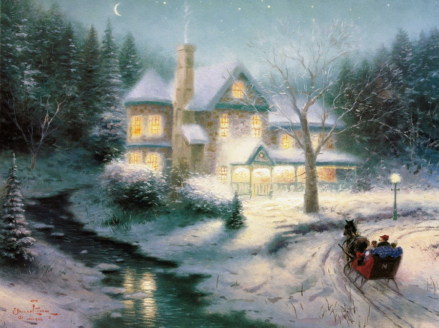 Thomas Kinkade lienzo impresiones de arte de trineo de Luna paseo barato textura Arte Abstracto hermoso lago casas pintura al óleo Giclee