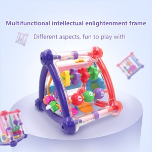 Above 6 Months Baby Puzzle Activity Play Cube Toy Infant Triangle Rattle Toys Intelligence Enlightening Hand Bell Education Toys