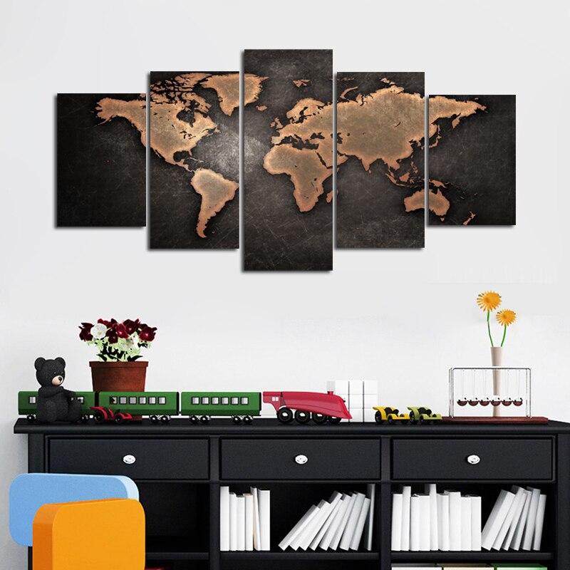 5 paneles de lienzo de mapa del mundo negro, pinturas de pared artística para sala de estar, imagen abstracta Modular de mapa, lienzo decorativo para pared, decoración de arte