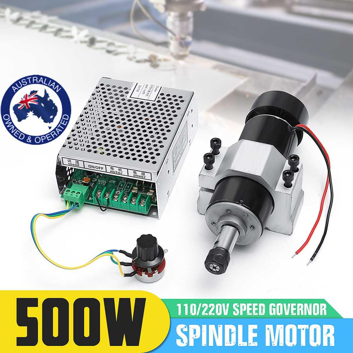 Motor do eixo de 110-220 v 500 w com regulador de velocidade e braçadeira de 52mm para a máquina do cnc