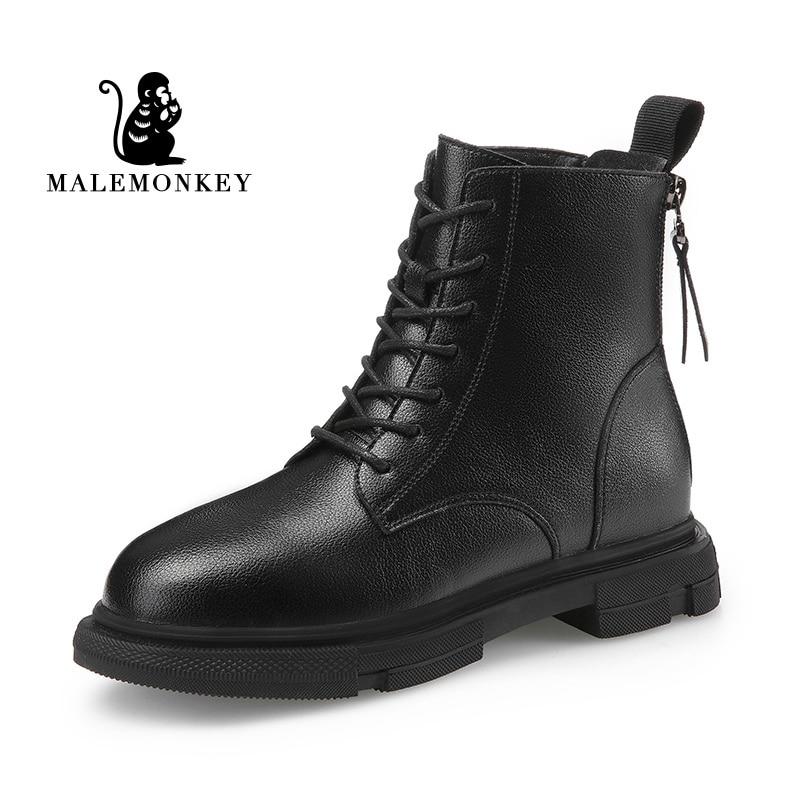 موضة أحذية النساء منصة 2021 الخريف الشتاء الدافئة الجلود سستة أحذية بوت قصيرة الإناث دراجة نارية مارتن التمهيد بوتاس موهير الأسود