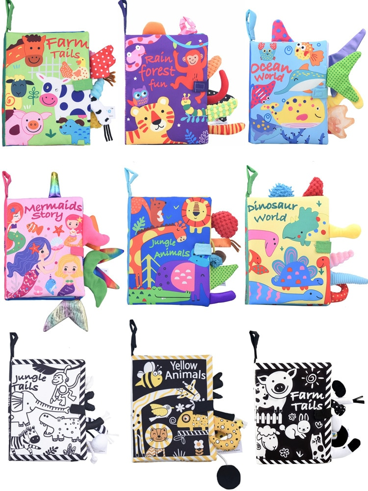Baby Cloth Book Soft for Kids Learning Quiet Books Animal Tail Dinosaur Activity Book Newborn Educat