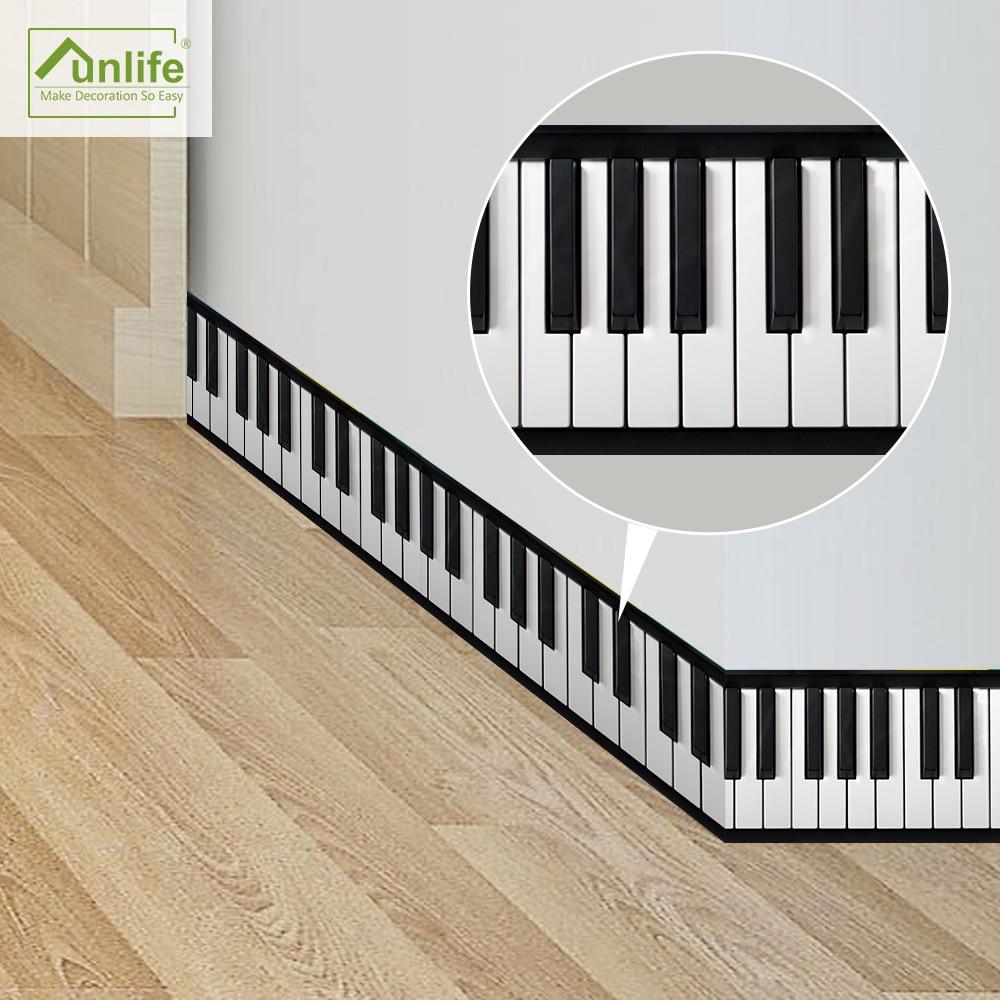 Funlife10 * 200 см/3,94*78,7 дюймов фортепиано клавиатура линии талии стены границы наклейки стены Искусство для гостиной украшения дома BS012