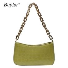Buylor Crocodile Pattern Baguette bags Women Shoulder Bag Fashion Retro Solid Color Handbags Persona