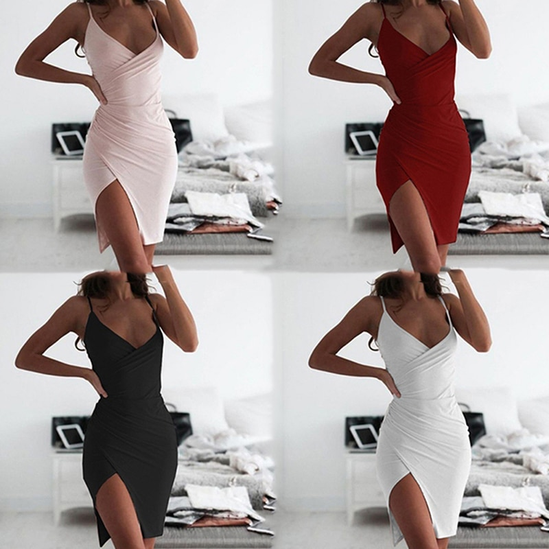 Women Deep V Neck Club Sexy Bodycon Dress Women Ruched Backless Cross Red Black Party Bandage Mini Summer Dress Vestidos