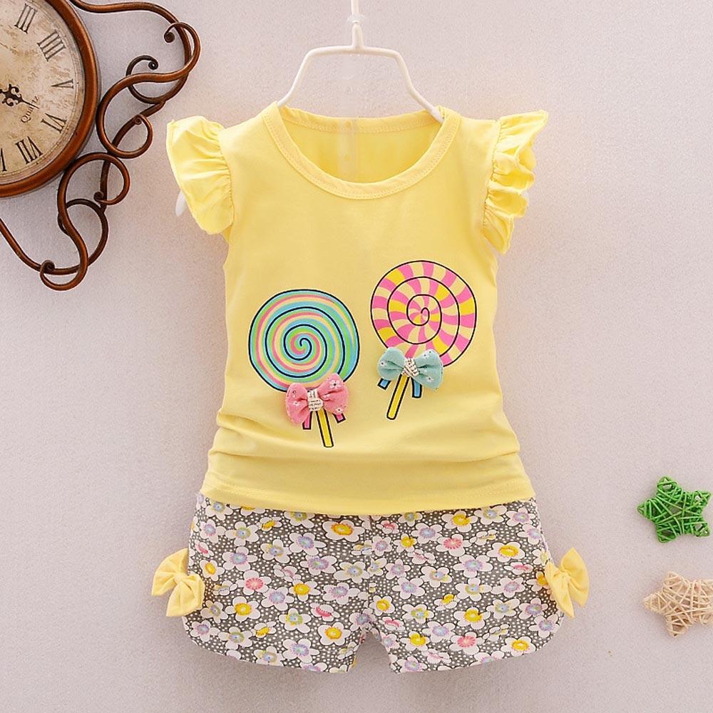Bebê recém-nascido roupas de menina carroceiros bebê menina conjuntos de roupas de verão baby girl floral T-shirt Tops + Calças Curtas Roupas Definir @ A