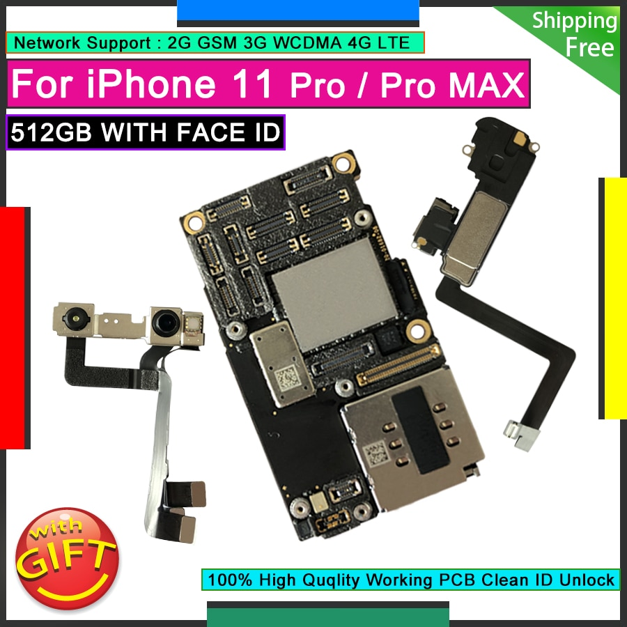 Promo For iPhone 11 Pro 512GB Unlocked Motherboard Factory Original Mainboard Logic Board Clean iCloud Plate WITH FACE ID 11 Pro Max