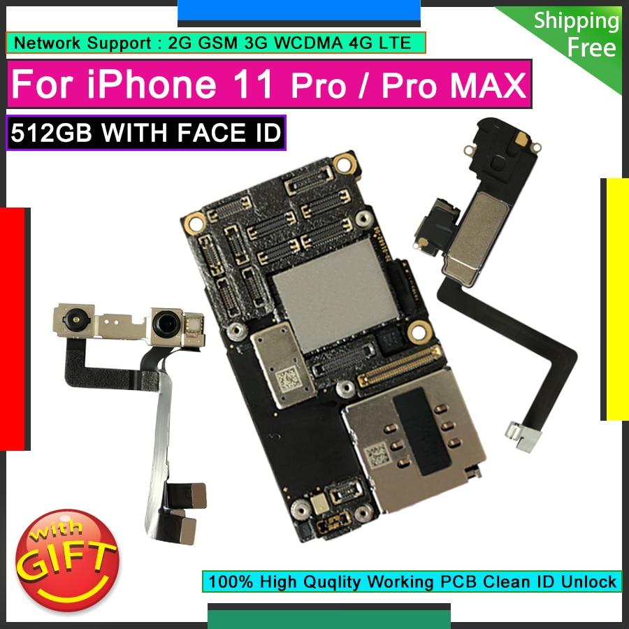 آيفون 11 برو 512GB مقفلة اللوحة الرئيسية المصنع الأصلي اللوحة المنطق لوحة نظيفة iCloud لوحة مع معرف الوجه 11 برو ماكس