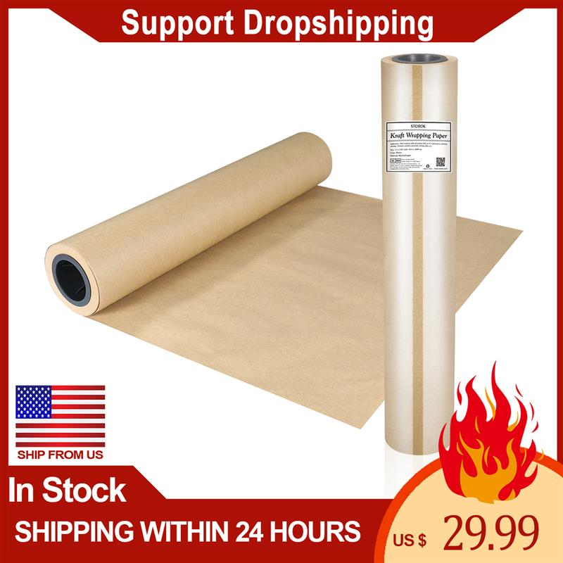 STOBOK Kraft Paper Roll Biodegradable Brown Kraft Wrapping Paper Great for Craft Projects Gifts Wrapping Furniture Protection