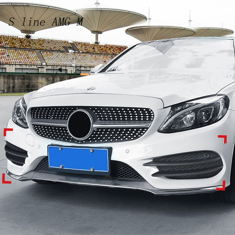 AliExpress - Carbon Fiber Style For Mercedes Benz C Class W205 Front Fog Lamp Grill Grille Decorative Covers Stickers Car Styling Accessories
