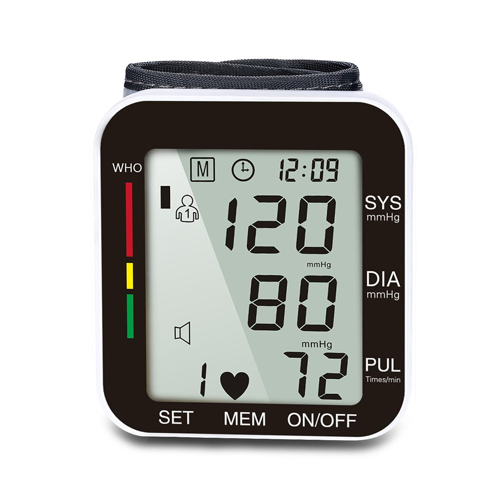 Tonómetro de muñeca de voz pulsómetro Monitor LCD Monitor de presión arterial Monitor de Salud del hogar manguito esfigmometro