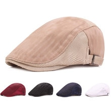 Fashion Men Flat Cap Mesh Summer Golf Driving Sun Beret Cabbie Hat Breathable French Style Peaked Ca