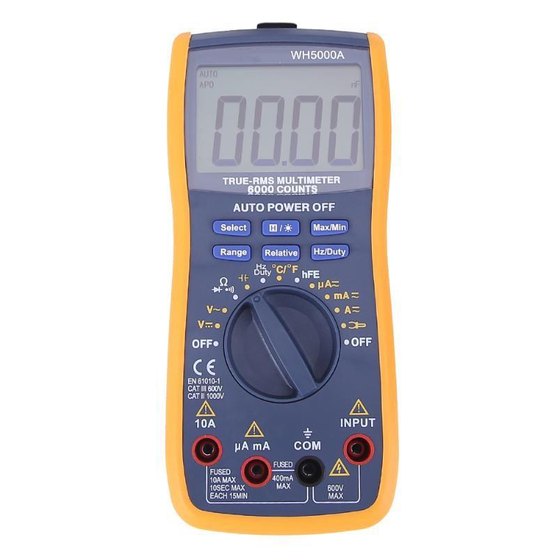 Топ!-WH5000A магнит цифровой мультиметр 5999 отсчетов Автоматический диапазон с подсветкой магнит повесить AC DC Амперметр Вольтметр Ом тестер Mete