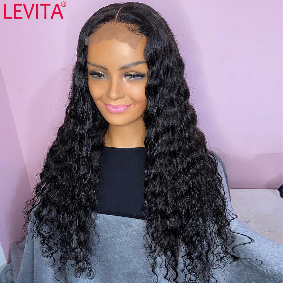 Wholesale Deep Wave Lace Front Wig 4x4 Lace Closure Frontal Wig Brazilian Pre Plucked Lace Front Human Hair Wigs For Women