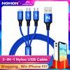 NOHON 3 IN 1 Type C 8 핀 마이크로 USB 케이블 (iPhone 8X7 6 6S Plus iOS 10 9 8) Samsung Nokia USB 고속 충전 케이블 코드