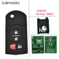 DJBFANDEA 4BT 315Mhz Remote key Fob For Mazda MX-5 Miata Mazda 3 Mazda 6 For Mazda BGBX1T478SKE125-01 Original keys ID63 chip