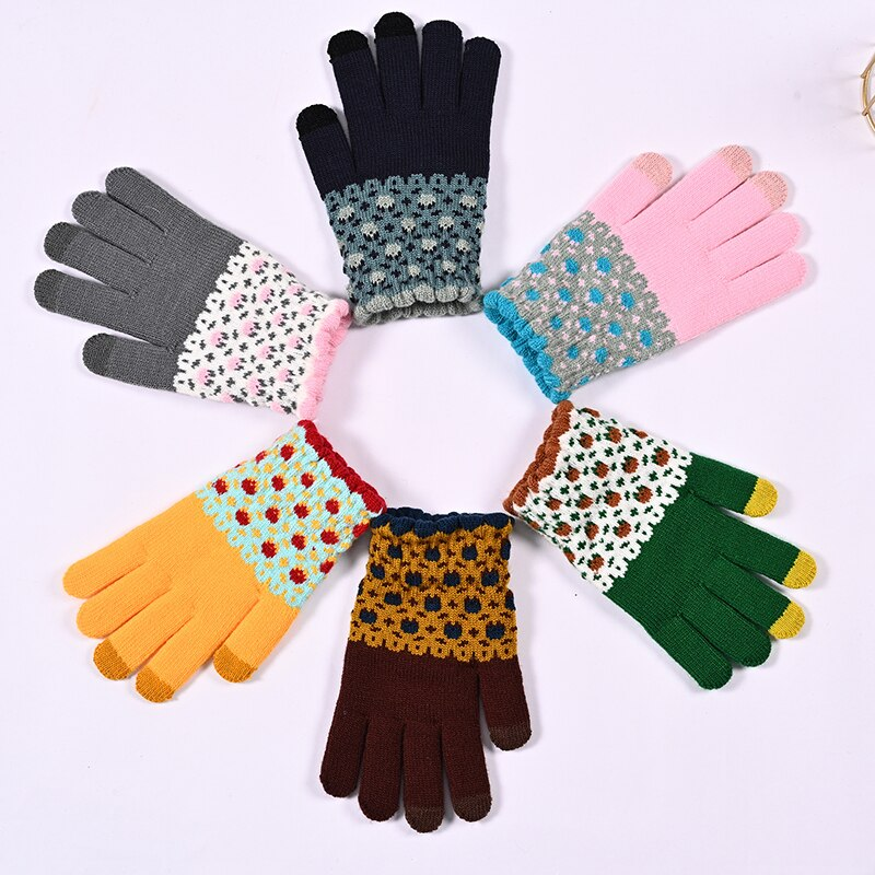Милые теплые перчатки, жаккардовые перчатки, перчатки в Корейском стиле, перчатки для сенсорного экрана, вязаные перчатки, теплые и милые пе...