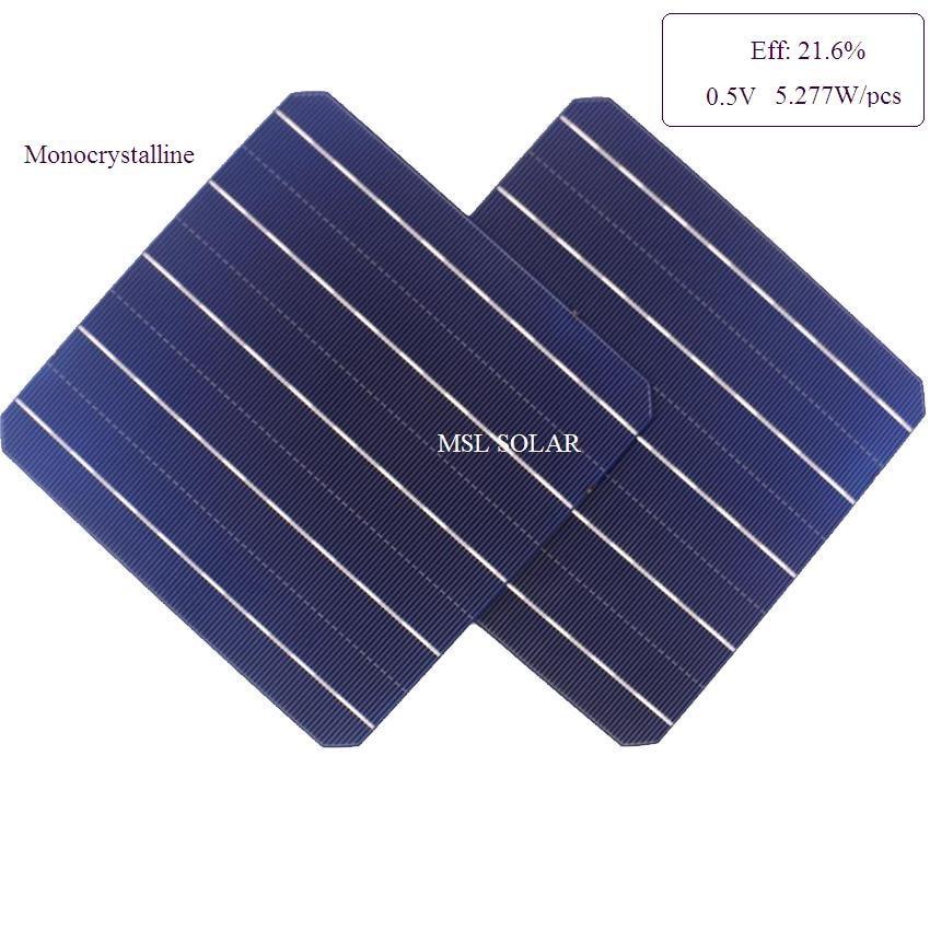Monocrystalline solar cell 21.6% highly efficiency 0.5V 5.27W A grade solar battery cell solar panel cell 100pcs/lot